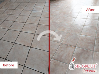 Before and after Picture of a Grout Cleaning Service in Orlando, Florida