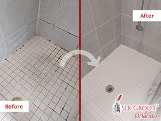 Before and after Picture of a Grout Cleaning Job in Winter Park, FL