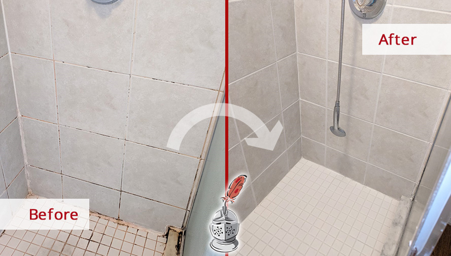 Before and after Picture of a Ceramic Tile Shower after a Grout Cleaning Job in Winter Park, Florida