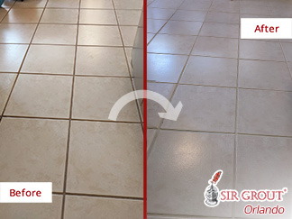 Before and after Picture of a Grout Cleaning Job in Orlando, FL