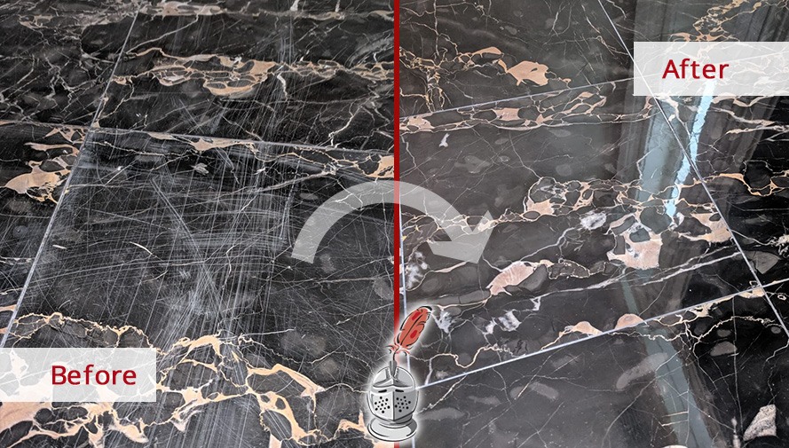 Picture of a Marble Floor Before and After a Stone Honing Process in Winter Park, FL