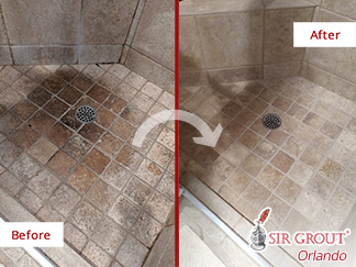 Before and After Picture of a Stone Shower in Orlando, FL