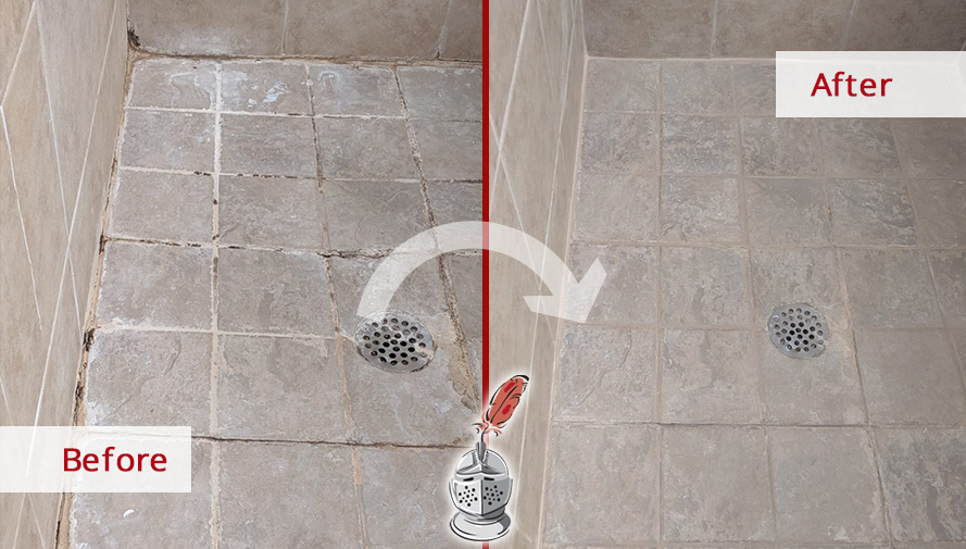 Master Shower Before and After a Stone Cleaning in Windermere, FL