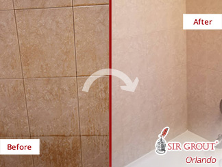 Picture of a Tile Shower Before and After a Tile Cleaning Service in Orlando, FL