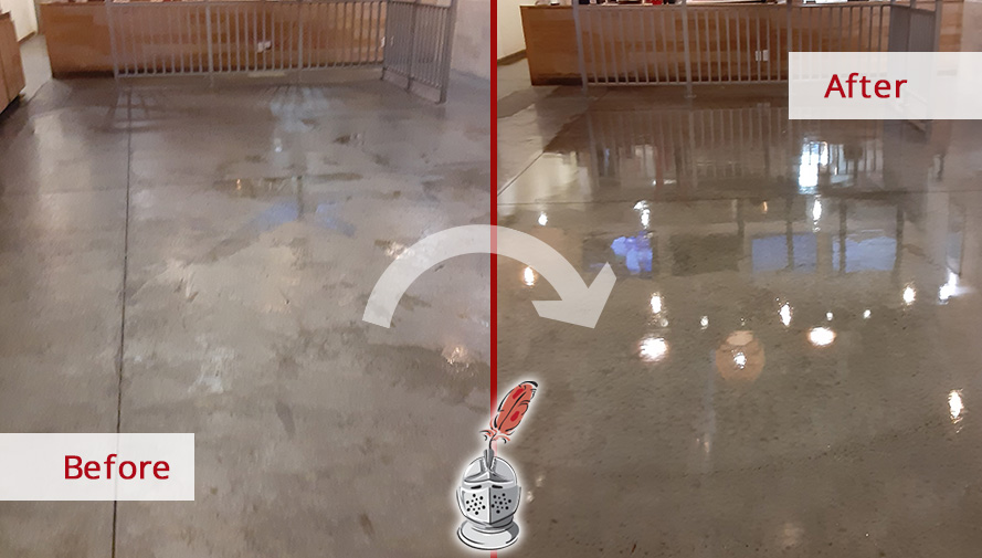 Image Showing How a Restaurant Concrete Floor Underwent a Drastic Change Thanks to Our Orlando Stone Cleaning Services