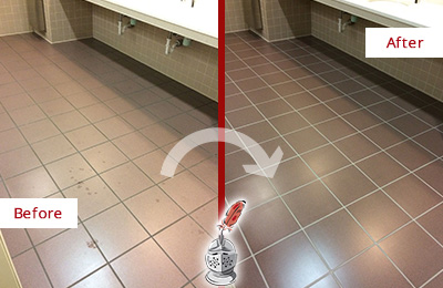 Before and After Picture of a College Park Restrooms Tile and Grout Cleaned to Remove Embedded Dirt