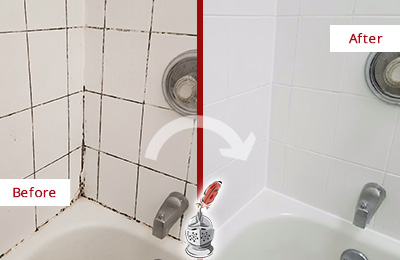 Before and After Picture of a Dr. Phillips Shower Tile and Grout Cleaned to Eliminate Mold