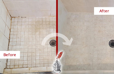 Before and After Picture of a Bay Lake Shower Caulked to Fix Cracks