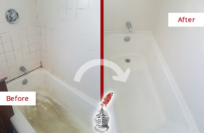 Before and After Picture of a Alafaya Bathtub Caulked to Repair Cracks