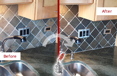 Before and After Picture of a Alafaya Backsplash Caulked to Fix and Prevent Water Leaks