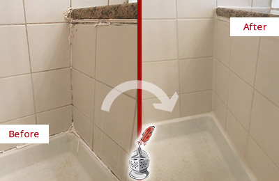 Before and After Picture of a Bay Lake Shower Caulked to Repair Damaged Caulking
