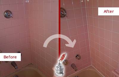 Before and After Picture of a Bay Lake Bathtub Caulked to Eliminate Mold