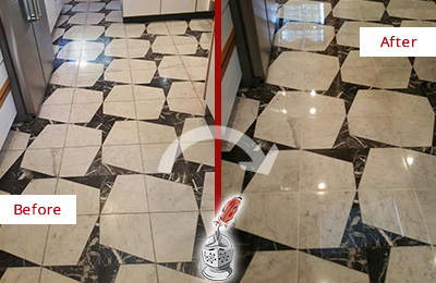 Before and After Picture of a Dull Montverde Marble Stone Floor Polished To Recover Its Luster
