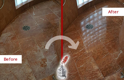 Before and After Picture of a Montverde Marble Stone Shower Polished to Eliminate Mineral Deposits