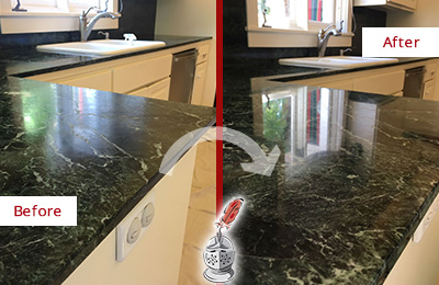 Before and After Picture of a Windermere Marble Stone Counter Polished to Eliminate Water Marks