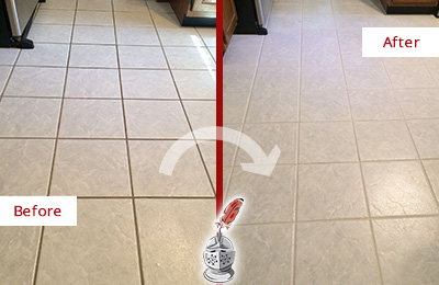 Before and After Picture of a Apopka Kitchen Ceramic Floor Sealed to Protect From Dirt and Spills