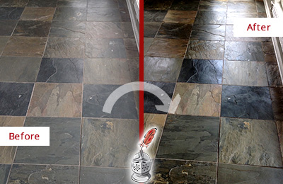Before and After Picture of a Dull Apopka Slate Floor Sealed to Bring Back Its Colors