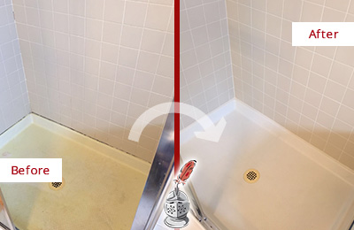 Before and After Picture of a Apopka Shower Sealed to Remove and Protect Against Mold