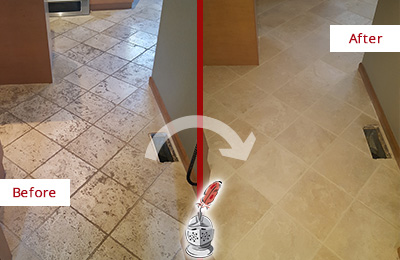 Before and After Picture of a Casselberry Kitchen Marble Floor Cleaned to Remove Embedded Dirt