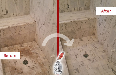 Before and After Picture of a Dirty Casselberry Marble Shower Cleaned to Eliminate Dark Stains