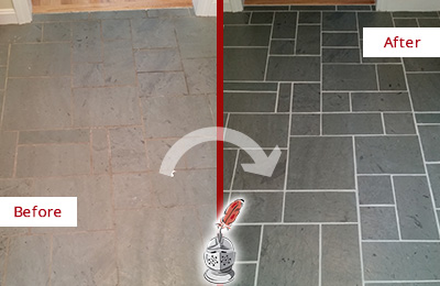 Before and After Picture of a Casselberry Slate Floor Cleaned to Remove Deep-Seated Dirt