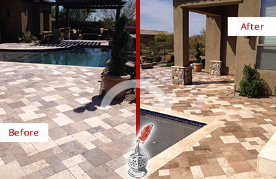 Before and After Picture of a Dull Maitland Travertine Pool Deck Cleaned to Recover Its Original Colors