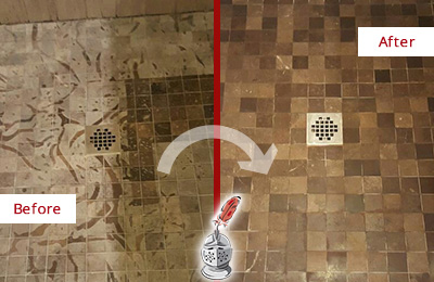 Before and After Picture of a Stained Maitland Marble Shower Floor Cleaned to Remove Etching