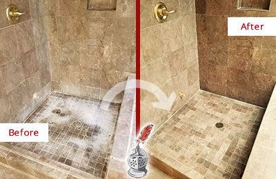 Before and After Picture of a Maitland Travertine Shower Cleaned to Eliminate Water Spots