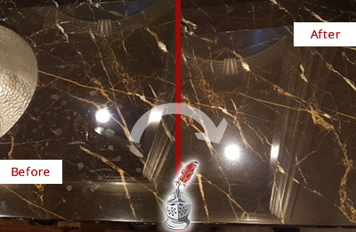 Before and After Picture of a Casselberry Marble Countertop Cleaned to Remove Water Spots