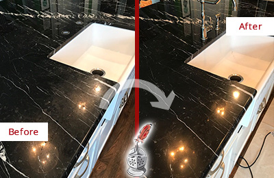 Before and After Picture of a Orlando Marble Kitchen Countertop Stone Sealed to Avoid Water Damage
