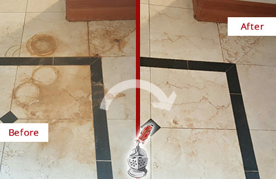 Before and After Picture of a Lady Lake Marble Floor Honed to Remove Rust Stains