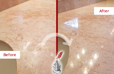 Before and After Picture of a Lady Lake Marble Vanity Top Honed to Eliminate Water Spots