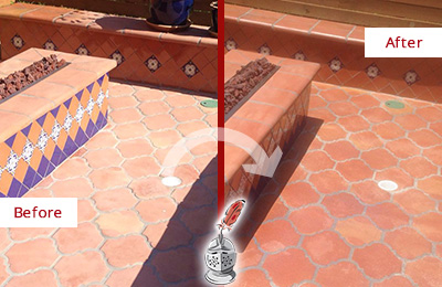 Before and After Picture of a Lake Buena Vista Hard Surface Restoration Service on a Dull Terracotta Patio Floor to Recover Its Color