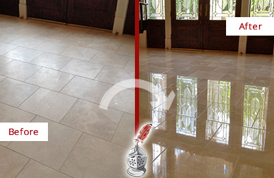Before and After Picture of a Lake Butler Hard Surface Restoration Service on a Dull Travertine Floor Polished to Recover Its Splendor