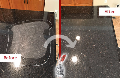 Before and After Picture of a Belle Isle Hard Surface Restoration Service on a Granite Countertop to Remove Scratches