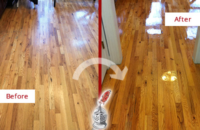 Before and After Picture of a Lake Butler Hard Surface Restoration Service on a Worn Out Wood Floor