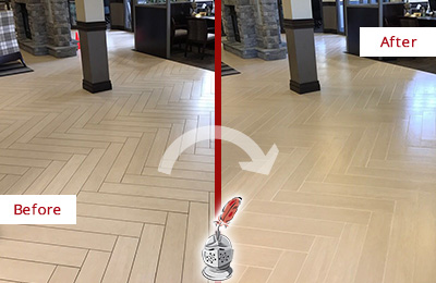 Before and After Picture of a Belle Isle Lobby Floor Cleaned to Even the Grout Color