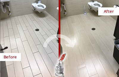 Before and After Picture of a Edgewood Office Restroom's Grout Cleaned to Remove Dirt