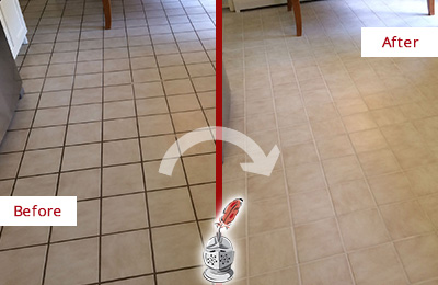 Before and After Picture of a Mascotte Kitchen Tile Floor with Recolored Grout