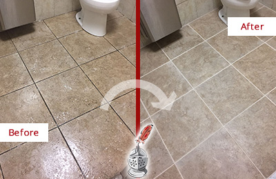 Before and After Picture of a Mascotte Office Restroom Floor Recolored Grout