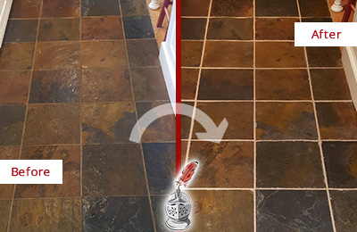 Before and After Picture of a Mascotte Slate Floor Recolored Grout