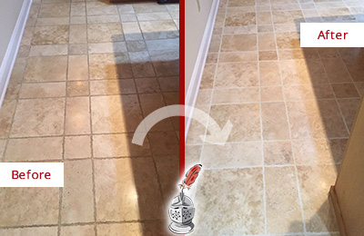 Before and After Picture of a Mascotte Travertine Kitchen Floor Recolored Grout
