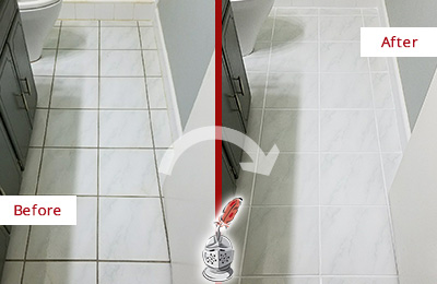 Before and After Picture of a Sanford White Ceramic Tile with Recolored Grout