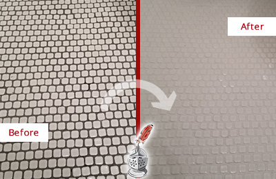 Before and After Picture of a Sanford White Mosaic Tile Recolored Grout