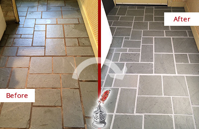 Before and After Picture of Damaged Kissimmee Slate Floor with Sealed Grout