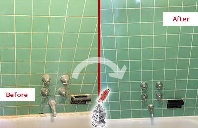 Before and After Picture of a Kissimmee Bath Tub Grout Sealed to Avoid Water Damage