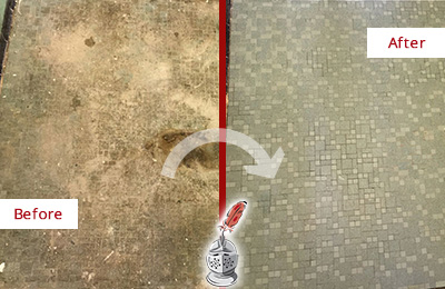 Before and After Picture of a Bay Hill Mosaic Shower Cleaned to Eliminate Embedded Dirt