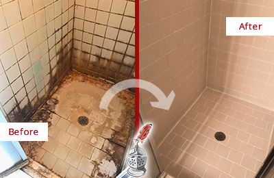 Before and After Picture of a Bay Hill Ceramic Shower Cleaned to Remove Grime