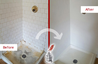 Before and After Picture of a Bay Hill Shower Cleaned to Eliminate Mold