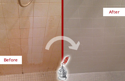Before and After Picture of a Bay Hill Porcelaine Shower Cleaned to Remove Soap Scum